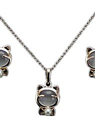 cheap -Women's Jewelry Set Cute Style Wedding Party Daily Casual Opal Alloy Cat Animal Earrings Necklaces