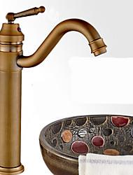Недорогие -Ванная раковина кран - Вращающийся Античная бронза Чаша Одно отверстие / Одной ручкой одно отверстиеBath Taps