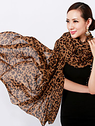 Women Chiffon U-type Leopard Print Brown Scarves Shawls Beach Towels