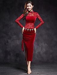 abordables -Danse du ventre Robes Femme Utilisation Dentelle Velours Fantaisie Manches Longues Taille moyenne Robe