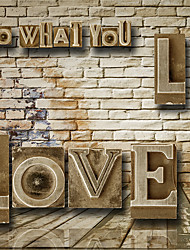 JAMMORY 3D Wallpaper For Home Wall Covering Canvas Material Three-dimensional Letters BricksXL XXL XXXL
