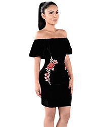 Women's Going out / Casual/Daily Vintage / Street chic Pleuche Sheath DressFloral Embroidery Layered Boat Neck Above Knee Short Sleeve