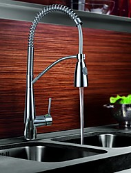 Contemporary Pull-out/­Pull-down Vessel Pullout Spray Ceramic Valve Single Handle One Hole Chrome , Kitchen faucet