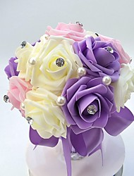 Bouquet sposa Tondo Rose Bouquet Matrimonio Partito / sera Raso Schiuma 18 cm ca.