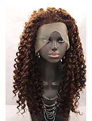 Недорогие -Искусственные волосы парики Лёгкие волны Природные волосы Лента спереди Парик из натуральных волос Коричневый