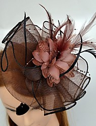 cheap -Tulle Feather Fascinators Headwear with Floral 1pc Wedding Special Occasion Headpiece