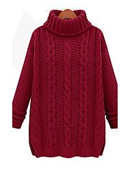 preiswerte -Damen Lang Pullover-Lässig/Alltäglich Einfach Street Schick Solide Rot Beige Schwarz Braun Rollkragen Langarm Baumwolle Acryl Elasthan