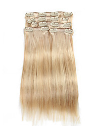billiga -7 st / set p18 / 613 blandade beige blekmedel blond clip in hårförlängningar piano färg 14inch 18inch 100% äkta hår