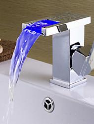Contemporary Art Deco/Retro Modern Centerset Waterfall LED Ceramic Valve One Hole Single Handle One Hole Chrome , Bathroom Sink Faucet