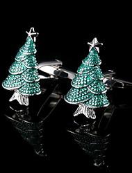 baratos -natal abotoaduras árvores abotoaduras presente france camisa de prata dos homens manguito botões presentes para jóias pai com caixa de