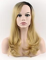 billige -Syntetiske parykker Løst, bølget hår Blond Med bangs / pandehår Syntetisk hår Blond Paryk Dame Medium Lågløs