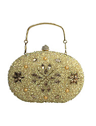 Women Bags All Seasons PU Evening Bag Crystal/ Rhinestone Acrylic Jewels for Wedding Event/Party Formal Gold Silver