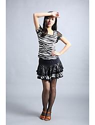 abordables -Baile Latino Accesorios Mujer Entrenamiento Chinlon Estampado Animal / Lunares Mangas cortas Cintura Baja Top / Falda