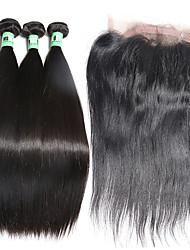 cheap -Malaysian Hair Straight Human Hair Weaves 4pcs Hair Weft with Closure Daily