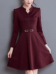 abordables -Femme Grandes Tailles Gaine Balançoire Robe Couleur Pleine Col en V