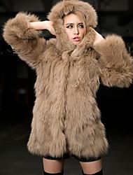Cappotto di pelliccia Da donna Casual Inverno Semplice,Tinta unita Pelliccia sintetica Bianco Manica lunga Medio spessore