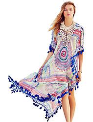 Women's Boho Blue Tassel Trim Chiffon Print Maxi Caftan