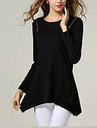 Standard Pullover Da donna-Taglie forti Sensuale Tinta unita Nero Grigio Girocollo Manica lunga Cotone Lino Altro Autunno Medio spessore