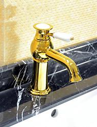 cheap -Art Deco/Retro Widespread Ceramic Valve One Hole Single Handle One Hole Ti-PVD, Bathroom Sink Faucet