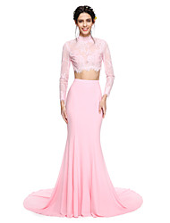 Mermaid / Trumpet High Neck Court Train Lace Jersey Formal Evening Dress with Appliques by TS Couture®