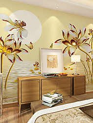 cheap -JAMMORY Art DecoWallpaper For Home Wall Covering Canvas Adhesive required Mural Golden Water Flowers XL XXL XXXL