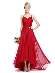 cheap -A-Line Spaghetti Strap Asymmetrical Chiffon / Tulle Bridesmaid Dress with Criss Cross / Ruched by LAN TING BRIDE® / Beautiful Back