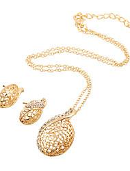 Ensemble de bijoux Imitation de diamant Mode Or Mariage Soirée Quotidien Décontracté 1set 1 Collier 1 Paire de Boucles d'OreilleCadeaux