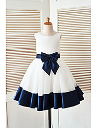 cheap -A-Line Knee Length Flower Girl Dress - Satin Tulle Sleeveless Scoop Neck with Bow(s) Sash / Ribbon by LAN TING BRIDE®