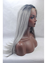 cheap -Synthetic Lace Front Wigs Black Roots Silver Grey Hair Ombre Silky Straight Synthetic Wig
