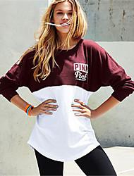 abordables -Sweatshirt Femme Quotidien Sports Actif Chic de Rue Lettre Col Arrondi Micro-élastique Polyester Manches longues Printemps Automne