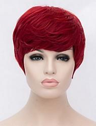 Недорогие -Парики из искусственных волос Жен. Прямой Красный Искусственные волосы Красный Парик Короткие Без шапочки-основы Красный