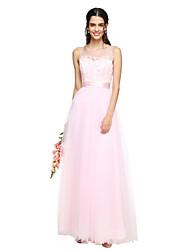 Linea-A Con decorazione gioiello Lungo Tulle Vestito da damigella con Con applique Fascia / fiocco in vita Con ruche di LAN TING BRIDE®