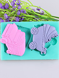 cheap -Car And Baby Carriages Fondant Cake Chocolate Silicone Molds,Decoration Tools Bakeware