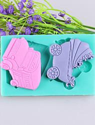 coches y carros de bebé fondant pastel moldes de silicona chocolate, herramientas de decoración para hornear