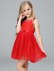 cheap -Girl's Daily Patchwork Dress,Polyester Spring Summer Fall Sleeveless Lace Bow Black Beige Red