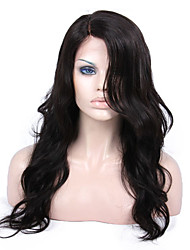 cheap -Virgin Human Hair Lace Front Wig / Glueless Full Lace Wig Brazilian Hair Body Wave / Natural Wave Side Part / With Bangs 130% / 150% / 180% Density 8-24 inch Natural Hairline / African American Wig