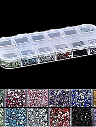 cheap -2500PCS 2MM Round 12-in-1 Acrylic Rhinestone Nail Art Decoration