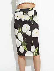 baratos -Mulheres Tamanhos Grandes Moda de Rua Para Noite Algodão Bodycon Saias - Floral Fenda / Estampado