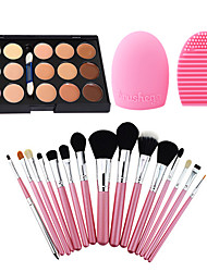 15Pcs Pro Cosmetic Make Up Brush Set Lipbrush Superior Soft+Salon Contour Face Cream Concealer+ Cleaning Tool Glove