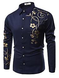 preiswerte -Herrn Blumen - Geschäftlich Wochenende Hemd Baumwolle
