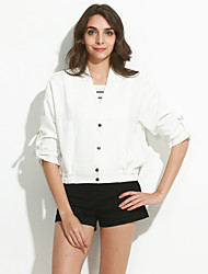 cheap -Women's Going out Street chic Fall JacketsSolid V Neck  Sleeve White / Black Cotton / Polyester Medium