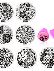 cheap -11 pcs Stamping Plate / Nail Jewelry Flower / Fashion Daily Nail Art Design / Metal