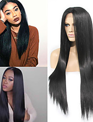 cheap -top quality heat resistant fiber black color long natural straight black synthetic middle part lace front wigs for black women
