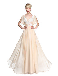 cheap -A-Line V Neck Floor Length Chiffon Bridesmaid Dress with Appliques by LAN TING BRIDE®