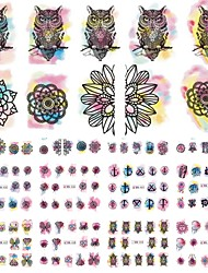 cheap -12 Designs Owl/Flower Watercolor Nail Stickers Beauty Nail Art Temporarily Watermark Nail Tips Decals DIY BN433-444