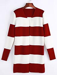 cheap -Women's Cardigan - Striped V Neck