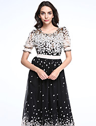 Women's Beach Chiffon / Skater Dress,Polka Dot Round Neck Maxi Short Sleeve Black Acrylic Spring