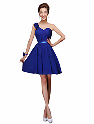 cheap -Sheath / Column Halter One Shoulder Sweetheart Straps Short / Mini Chiffon Bridesmaid Dress with Sash / Ribbon by LAN TING Express