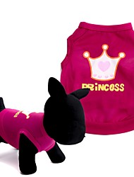 cheap -Dog Shirt / T-Shirt Vest Dog Clothes Tiaras & Crowns Red Pink Terylene Costume For Pets Men's Women's Cute Fashion