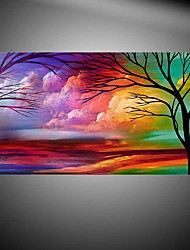 cheap -Tree Landscape Handamde Brush Hand-Painted Abstract / Landscape 100% Hang-Painted Oil PaintingModern One Panel Canvas Oil Painting For Home Decoration